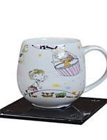 dessin animé enfants rose clair petit déjeuner tasse