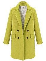 Women's Casual/Daily Street chic Pea Coats,Solid Long Sleeve Winter Yellow Polyester