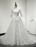 A-라인 웨딩 드레스 코트 트레인 스쿱 레이스 / 튤
