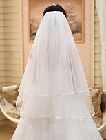 Wedding Veil Two-tier Elbow Veils Pencil Edge Chiffon White White