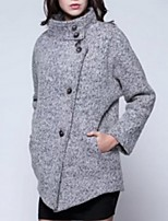 Women's Solid Gray Coat,Street chic Long Sleeve Polyester