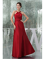 Formal Evening Dress A-line Halter Floor-length Taffeta