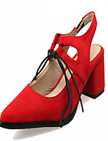 Women's Shoes Leatherette Chunky Heel Heels Heels Outdoor / Office & Career / Party & Evening Black / Red / Gray