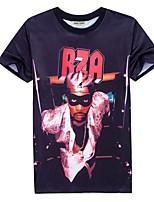 Men's Print Casual T-Shirt,Polyester Short Sleeve-Black