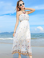 Women's Boho Polka Dot Swing Dress,Strapless Maxi Polyester