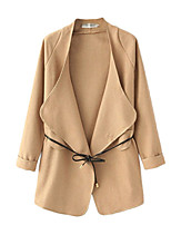 Women's Casual/Daily Simple Trench Coat,Solid Long Sleeve Brown / Gray Cotton