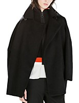 Women's Solid Black Coat,Street chic Long Sleeve Polyester