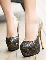 Calçados Femininos-Saltos-Saltos-Salto Agulha-Prateado / Dourado-Courino-Casamento / Festas & Noite