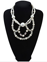 Fashion Charm Jewelry Pendant Chain Simulated Pearl Choker Chunky Statement Bib Necklace