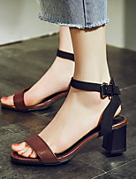 Women's Shoes Chunky Heel Open Toe Sandals Dress / Casual Black / Brown