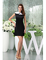 Cocktail Party Dress Sheath / Column Jewel Short / Mini Satin with Ruffles