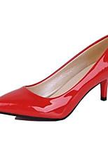 Zapatos de mujer-Tacón Bajo-Tacones-Tacones-Fiesta y Noche-Semicuero-Negro / Rojo / Blanco
