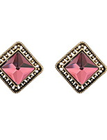 New Styles 2016 Fashion Jewelry Flash Rhinestone Antique Square Stud Earrings Women Girl Christmas Gifts