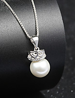 Cute Natural Fresh Water Pearl Crystal Crown Hollow Heart Necklace Real 925 Silver Chain Round Beads Pendant for Women