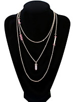 Fashion Punk Style Jewelry Crystal Long Tassel Necklace Gold Alloy Multi Layer Necklace For Lady Women