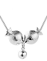 Hot Trendy 2016 Pisces Real 925 Silver Link Chain Kiss Fish Pendant Choker Small Bell Necklace Women Nice Animal Jewelry