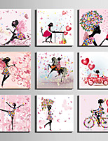 E-HOME® Stretched Canvas Art Flower And Butterfly Woman Series Decoration Painting MINI SIZE One Pcs