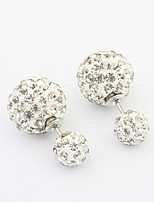 4 Colors Hot Fashion Brand Crystal Jewelry Double Beads Full Rhinestone Imitation Pearl Studs Earrings