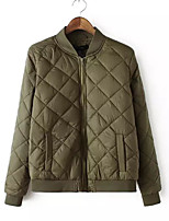 Women's Plaid Green Padded Coat,Street chic Stand Long Sleeve