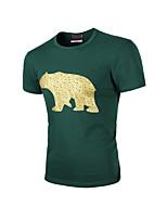 Print-Informeel-Heren-Katoen-T-shirt-Korte mouw Zwart / Groen / Rood