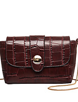 Women PU Sling Bag Shoulder Bag-Black / Burgundy