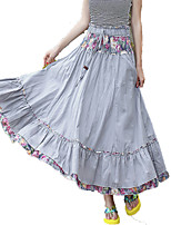 Women's Floral Blue / Pink / Red / Gray Skirts,Holiday / Beach Midi