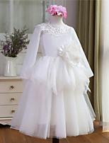 Ball Gown Floor-length Flower Girl Dress - Tulle Long Sleeve Jewel with