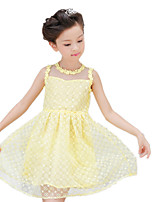 Girl's White / Yellow Dress,Print Cotton / Polyester Summer / Spring