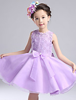 A-line Knee-length Flower Girl Dress-Lace / Satin / Tulle Sleeveless