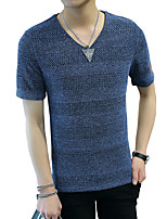 Men's Short Sleeve T-Shirt,Cotton / Acrylic / Polyester Casual / Sport Solid 916109