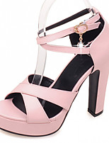 Women's Shoes Leatherette Chunky Heel Peep Toe Sandals Office & Career / Party & Evening / Dress Black / Pink / Beige