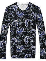 Men's V-neck  Fashion Leisure Long Sleeved Printed Sweater