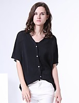 S29® Women's Shirt Collar Short Sleeve Shirt & Blouse Black-5ST04SL370145