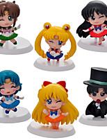 6PCS Q Version  Sailor Moon 5CM PVC Anime Action Figures Doll Toys Sets