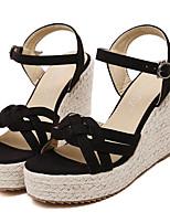 Women's Shoes Fleece Summer Wedges / Heels Outdoor / Casual Wedge Heel Buckle Black / Beige