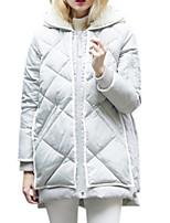 Women's Solid White / Black Down Coat,Simple Hooded Long Sleeve