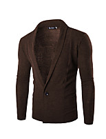 Men's Long Sleeve Jacket,Cotton / Polyester Casual Solid