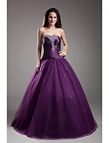 Formal Evening Dress-Grape Ball Gown Strapless Floor-length Taffeta / Tulle