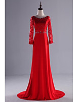 Formal Evening Dress-Ruby Sheath/Column Scoop Sweep/Brush Train Lace