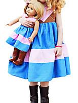 Girl's Blue Dress,Stripes Cotton Summer / Spring