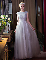 Formal Evening Dress A-line Scoop Floor-length Lace / Tulle with Beading / Bow(s) / Lace / Pearl Detailing