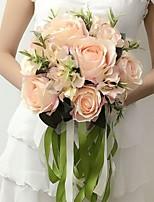 Bouquets de Noiva Redondo Rosas Buquês Casamento / Festa / noite Azul / Rosa / Vermelho / Roxo / Champagne Cetim 9.84