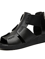 Women's Shoes Synthetic Wedge Heel Peep Toe Sandals Office & Career / Party & Evening / Dress / Casual Black / White