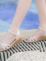 Women's Shoes Synthetic Wedge Heel Wedges Sandals Dress / Casual Blue / Beige