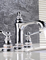 HPB™ Antique Chrome Finish Brass Three Holes Two Handles Sink Faucet