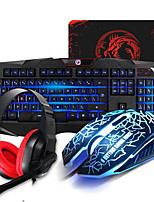 Gaming Wired Keyboard Mouse Headband and Pad Kit  Multimedia Optical Professional Kit Waterproof 4 Pieces a Set