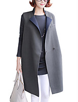 Women's Solid Blue Coat,Simple / Street chic Sleeveless Cotton