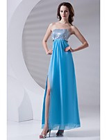 Formal Evening Dress-Ocean Blue Sheath/Column Strapless Ankle-length Chiffon / Sequined