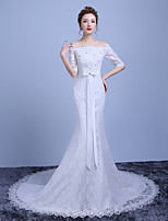 Trumpet/Mermaid Wedding Dress-Court Train Off-the-shoulder Cotton / Lace