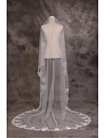 Wedding Veil One-tier Cathedral Veils Cut Edge / Lace Applique Edge Tulle / Lace White